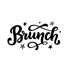 brunch calligraphy logo badge vector image