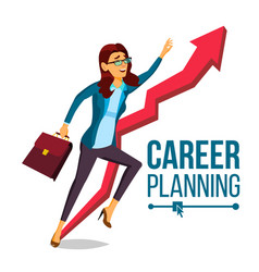 business woman career planning fast career vector image