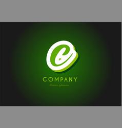 C alphabet letter logo green 3d company icon vector
