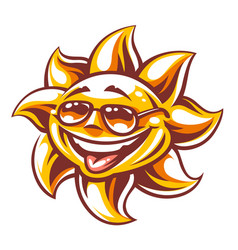 cartoon happy sun art vector image