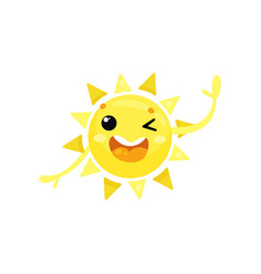 Cartoon icon of friendly yellow sun winking eye vector