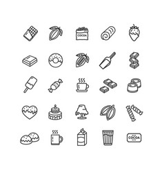 chocolate sign black thin line icon set vector image