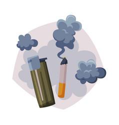 Cigarette smoke air passive smoking pollution vector