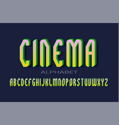 Cinema alphabet green yellow pink 3d letters vector