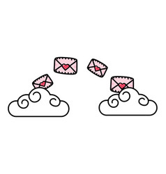 clouds with envelope vector image