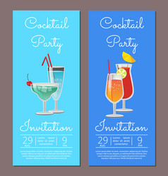 Cocktail party invitation summertime fest august vector
