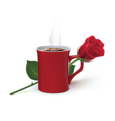 Coffee and rose realistic 3d vector