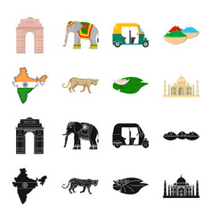 Country india blackcartoon icons in set vector