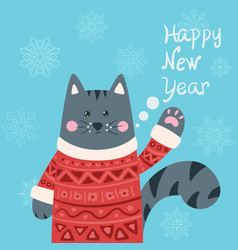 cute cat characters happy new year 2019 vector image