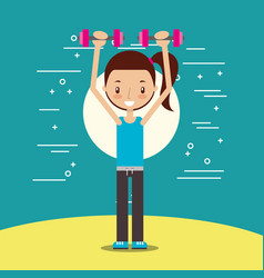 cute girl training lifting weight vector image