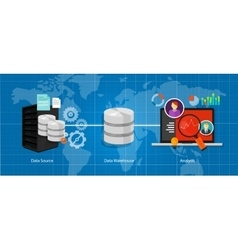 data business intelligence warehouse database vector image