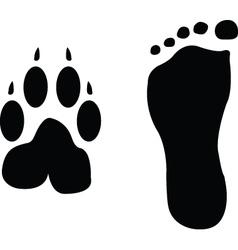 Dog and man footprints vector