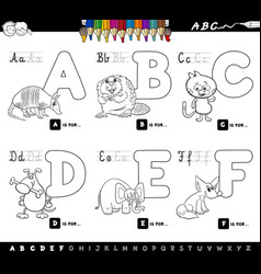 Educational cartoon alphabet letters for coloring vector