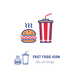 fast food icon hamburger and a glass cocktail vector image