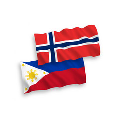 Flags norway and philippines on a white vector