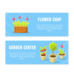flower shop garden center horizontal banners vector image