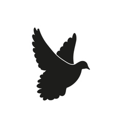 flying black dove as symbol peace vector image