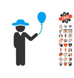 gentleman with balloon icon with love bonus vector image
