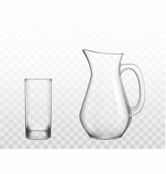 Glass jug and highball glass realistic vector
