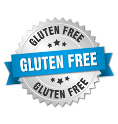 Gluten free 3d silver badge with blue ribbon vector