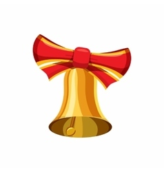 Gold bell with red bow icon cartoon style vector