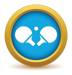 Gold table tennis icon vector image