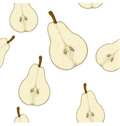 half of pear colored hand drawn sketch as vector image