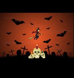 halloween witch bat skull gravestone cross vector image