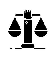 Hand justice black icon concept vector