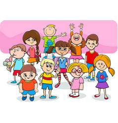 happy children cartoon characters group vector image