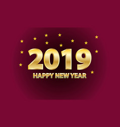 happy new year 2019 golden text with stars vector image