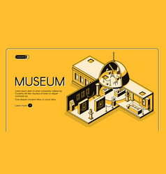 Historical museum isometric landing page vector