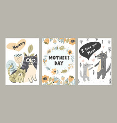 i love mom cards set with cute animals vector image