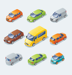 isometric modern cars collection vector image