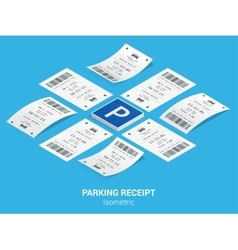Isometric set of Parking tickets Flat vector