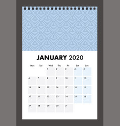 January 2020 calendar with wire band vector