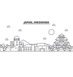 Japan hiroshima architecture line skyline vector