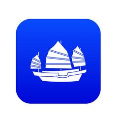 junk boat icon digital blue vector image