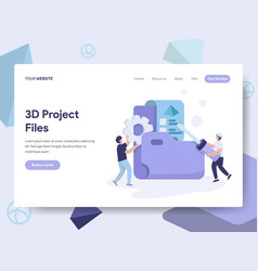 Landing page template of 3d project files vector