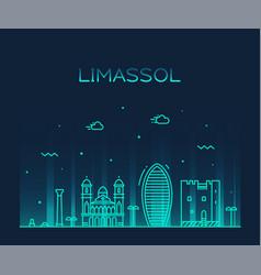 limassol skyline cyprus city linear style vector image