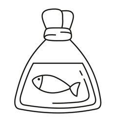 line art black and white fish in plastic bag vector image