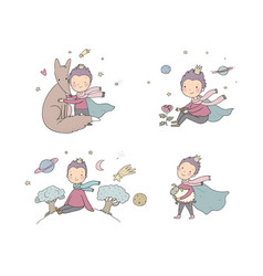 little princea fairy tale about a boy a rose vector image