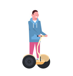 man riding gyroscooter over white background vector image