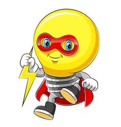 mascot cartoon character cheerful bulb superhero vector image