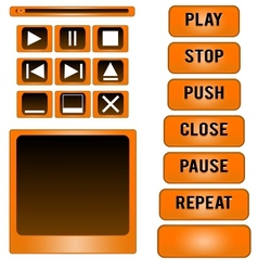 Media player buttons design elements vector image