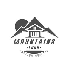 mountain logo premium quality vintage black and vector image