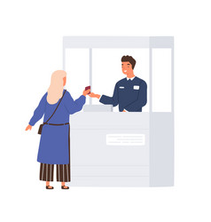 Passenger giving her document to friendly boarder vector