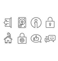 password encryption lock and feedback icons hdd vector image