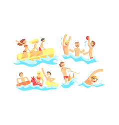 people characters having vacation and doing water vector image