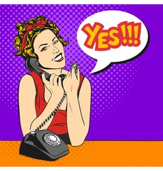 pop art beautiful young woman with telephone and a vector image